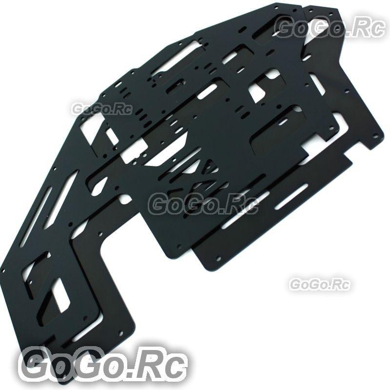 2 Pcs Aluminum Metal Main Frame Black for Trex T-rex 500 Helicopter GH500-005