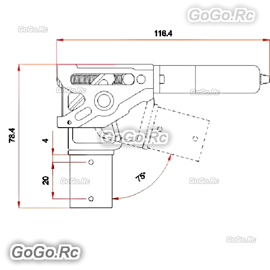 Details about Tarot-RC 75 Degree Metal Large Scale Electric Retractable  Landing Gear - TL4N004